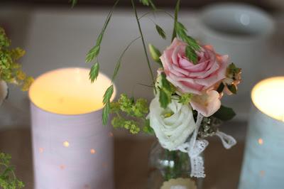 Dosen-Kerzen, Hochzeitsmotto aus M wird M, Pastell und Vintage im Riessersee Hotel Garmisch-Partenkirchen, Bayern