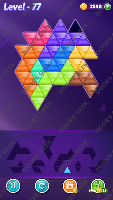 Block! Triangle Puzzle 9 Mania Level 77 Solution, Cheats, Walkthrough for Android, iPhone, iPad and iPod