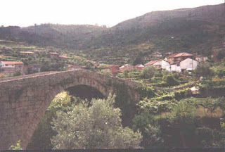 Roman Bridge over the river Varosa and surrounding vineyards in São João de Tarouca