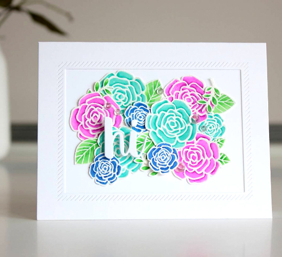Pretty Posies and Buildable Bouquet stamp sets and Die-namics, Hello There and Inside & Out Diagonal Stitched Rectangle STAX Die-namics  - Amanda Korotkova #mftstamps