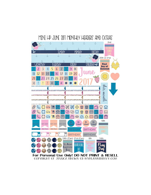 Free Printable June 2017 Monthly Headers & Extras for the Mini Happy Planner from myplannerenvy.com