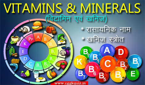 biology general science gk quiz hindi [list of all vitamins and minerals: chemical name and their source name table/chart] with science questions and answers gk quiz, human body quiz etc.
