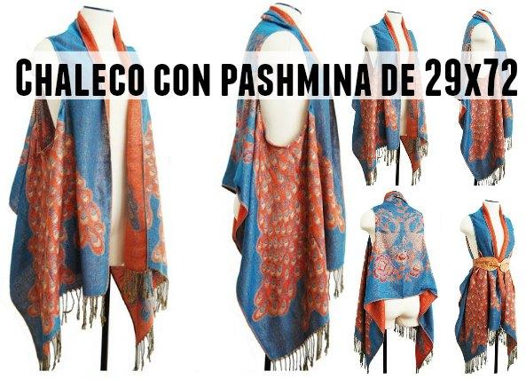Chaleco con pashmina de 29x79 en rectangular