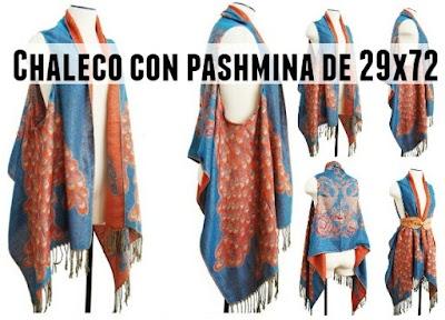 Chaleco con pashmina de 29x79 en rectangular horizontal