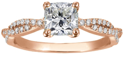 Rose gold cushion cut diamond engagement ring