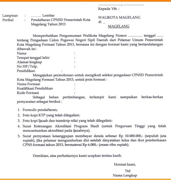Contoh surat lamaran ke Instansi Pemerintah