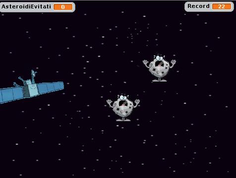 Gioco Scratch asteroidi Rosetta  creato da Simone Bacciglieri