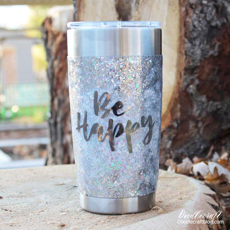 Make a glitter tumbler with cricut vinyl and high gloss resin, great for a gift