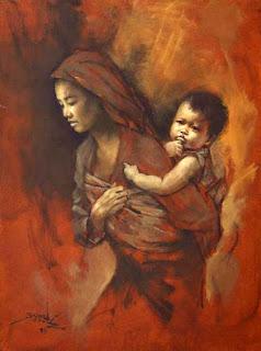 Lukisan Bertema Ibu dan Anak Karya Basuki Abdullah; Memberi Pesan Rasa Kasih Sayang yang Tulus
