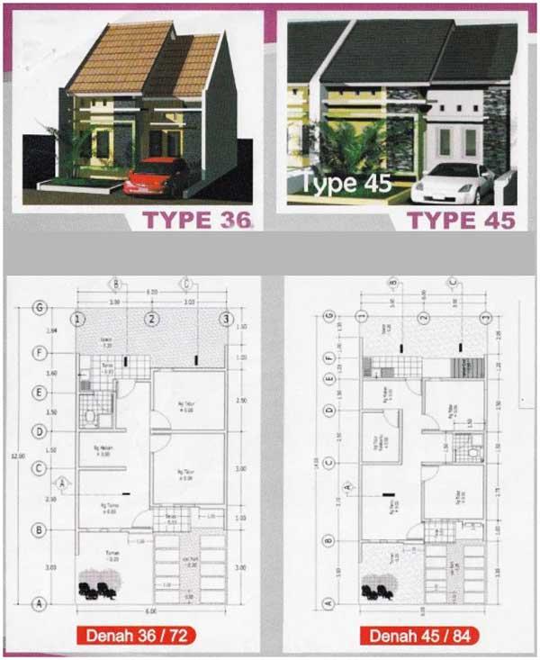 denah rumah minimalis 3 kamar tipe 45