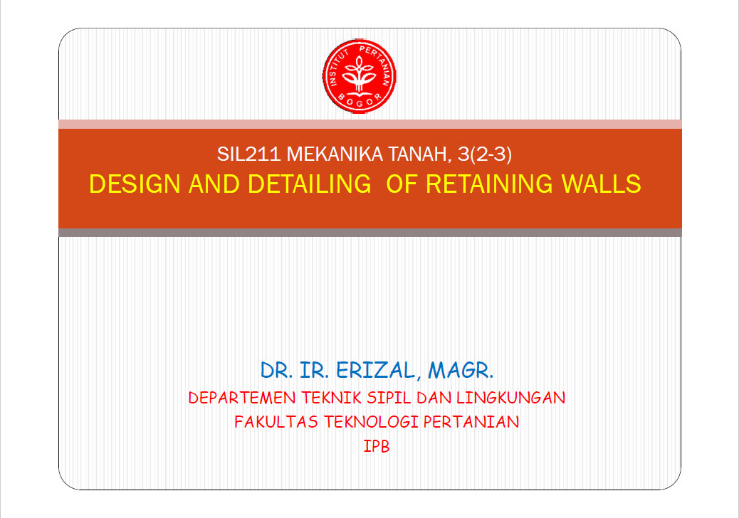 DESIGN AND DETAILING OF RETAINING WALLS - Engineering Books