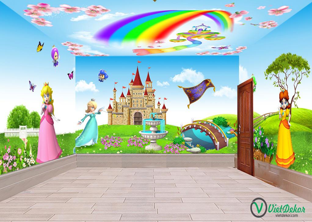 Tranh dán tường 3d cung điện công chúa cho bé