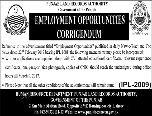 Punjab Land Record Authority Lahore Jobs  28 February, 2017