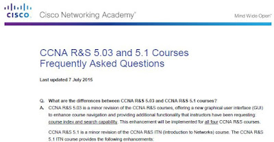 CCNA R&S 5.03 and 5.1 Courses Frequently Asked Questions (Updated on July 7, 2015)