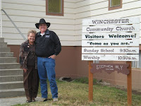 Authors Janet Chester Bly & Stephen Bly in front of Idaho Winchester Community Church