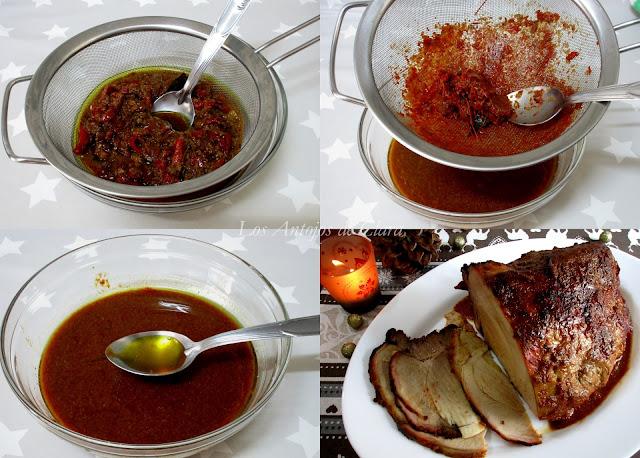 Salsa del pernil de cerdo al horno