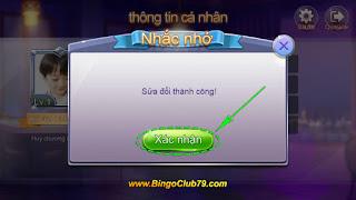 Nhắc nhở sửa đổi thành công Bingo Club