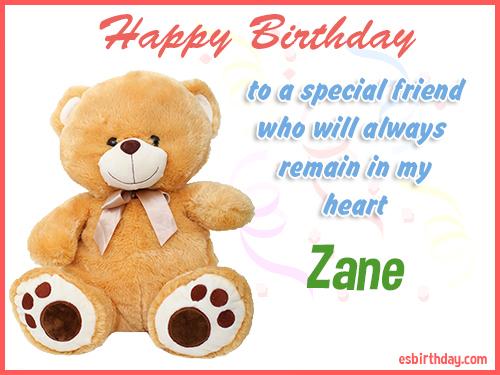 Zane Happy birthday friend