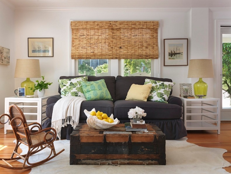 Wonderful Coastal Charcoal Slipcover Sofa In Living Room