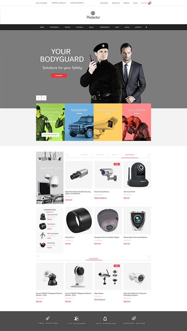PAV PROTECTOR Responsive Opencart theme built with Drag and Drop ...