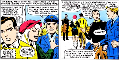 Amazing Spider-Man #53, john romita, Gwen Stacy, Flash thompson and Harry osborn with peter parker on campus