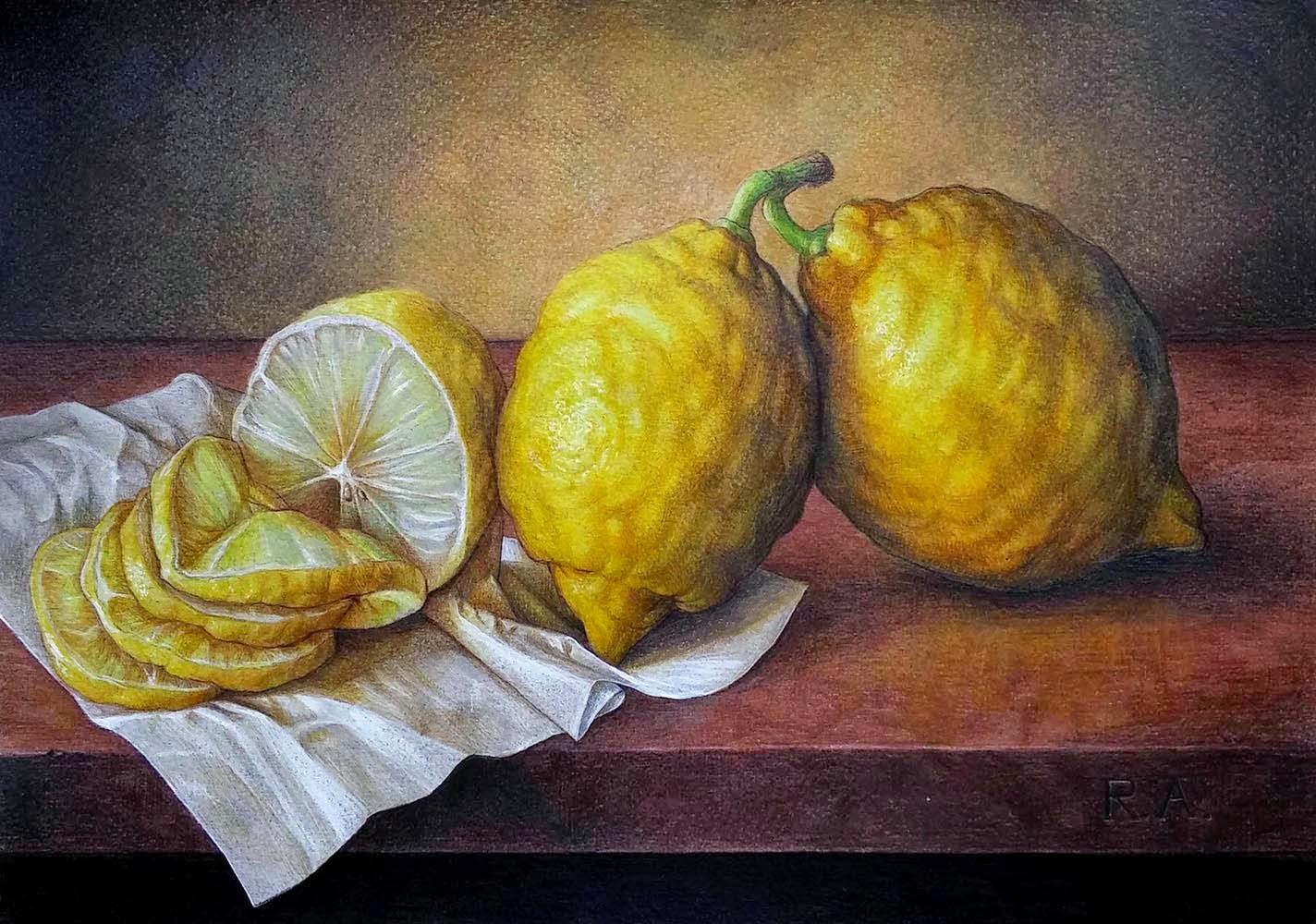 Limoni Disegno: Naturalia: Natura Morta Con Limoni