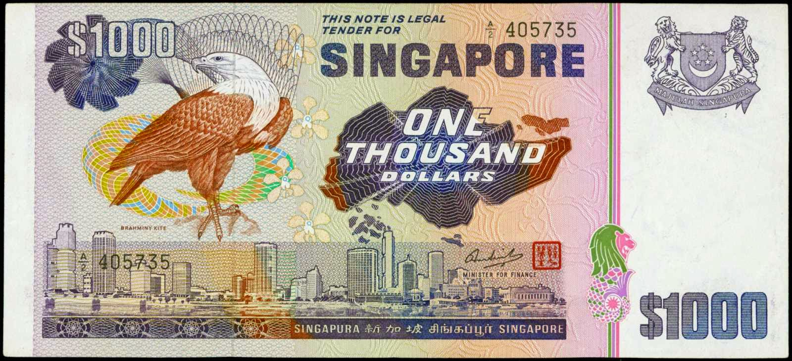 Singapore currency notes 1000 Dollars banknote Bird Series