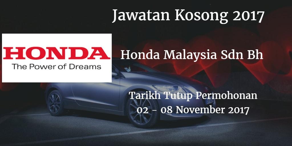 Jawatan Kosong Honda Malaysia Sdn Bhd 02  - 08 November 2017