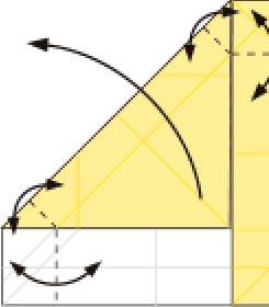 Bước 7: Gấp tạo nếp gấp tại vị trí nét đứt, sau đó mở lớp giấy trên cùng ra