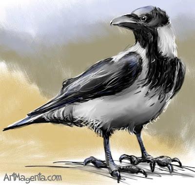 Kråka är en fågelmålning av Artmagenta