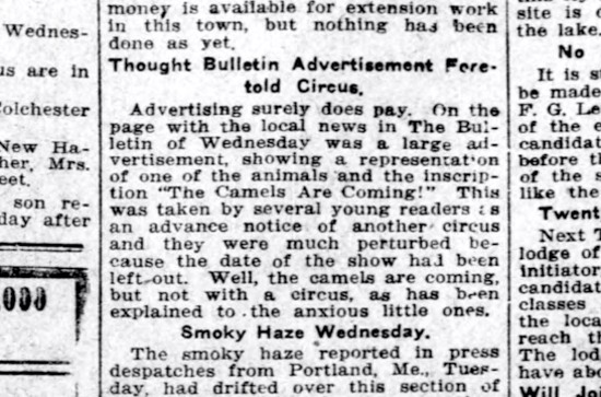 Camel article May 21, 1914