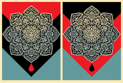 OBEY Giant Blood & Oil Mandala Screen Prints by Shepard Fairey
