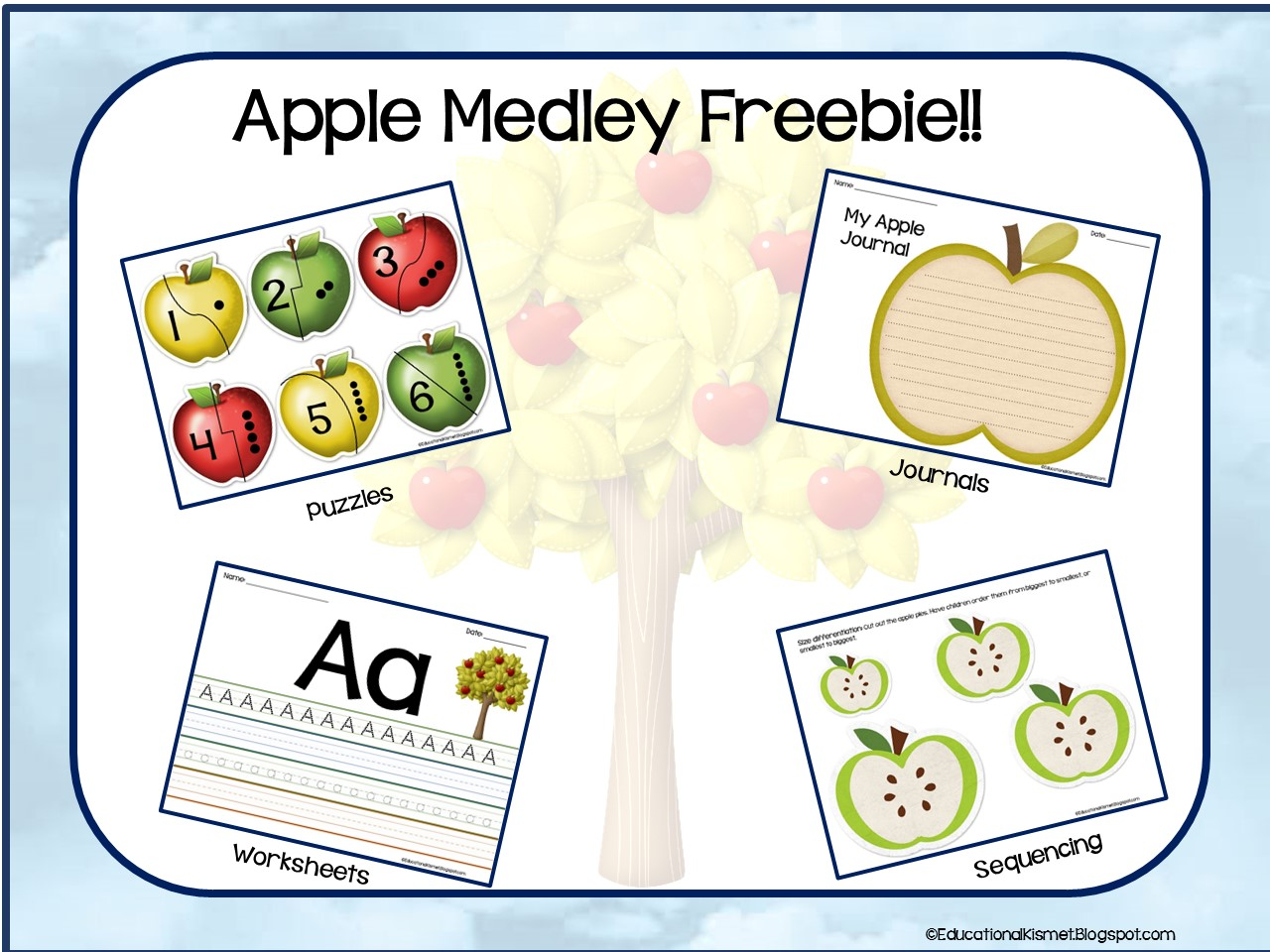 Educational Kismet Apple Medley Worksheets Puzzles And So Much More