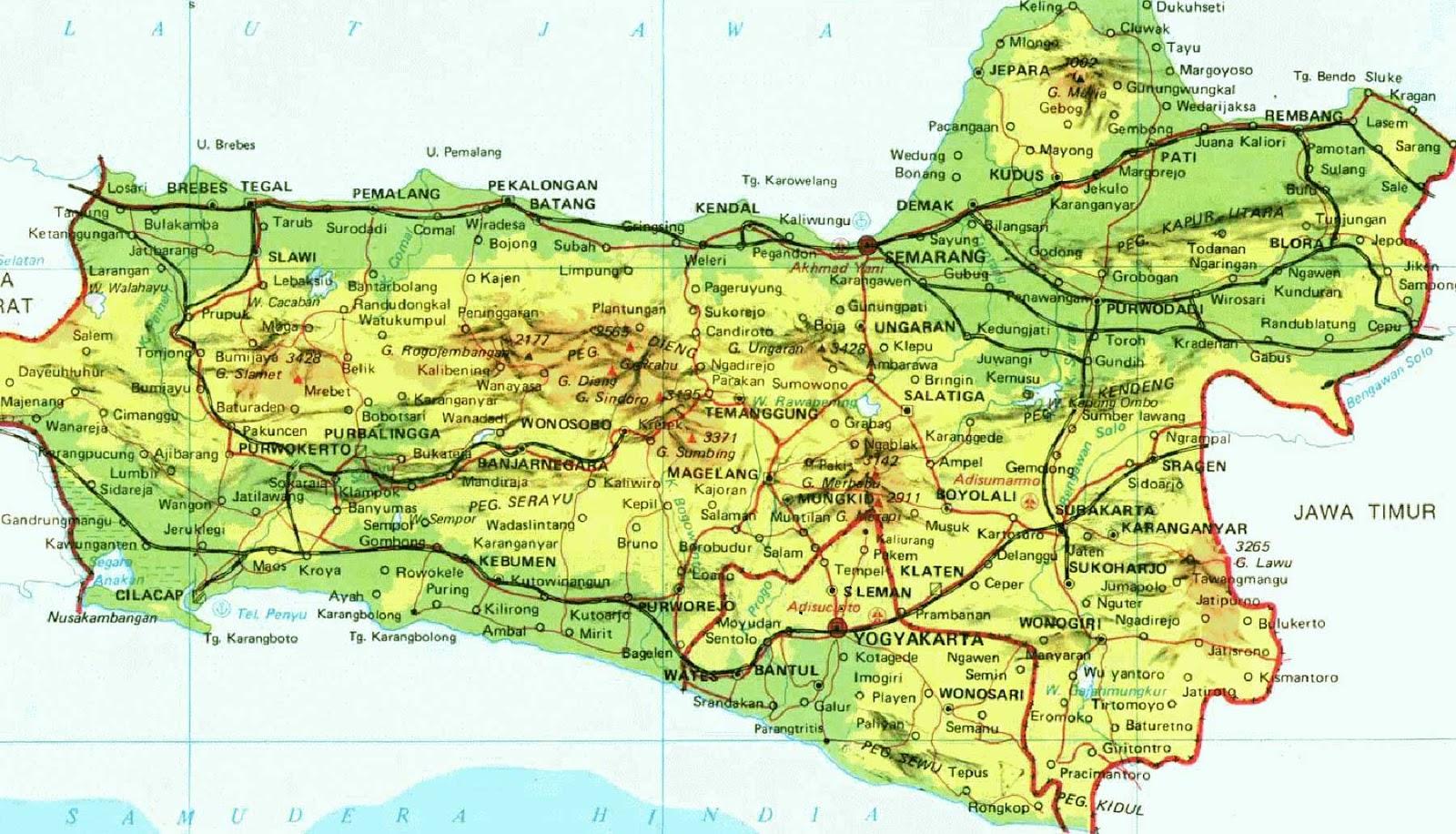 Gambar Peta Kabupaten dan kecamatan di Jawa Tengah