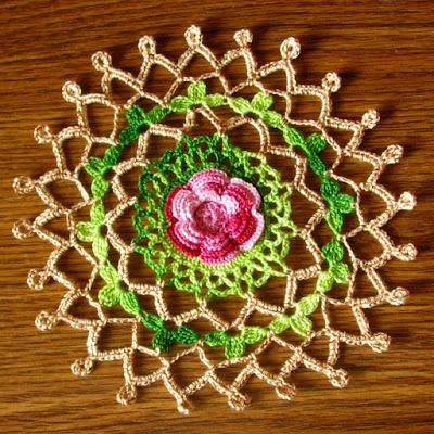 Red Rose Garden Motif - Irish Crochet Handmade by RSS Designs In Fiber