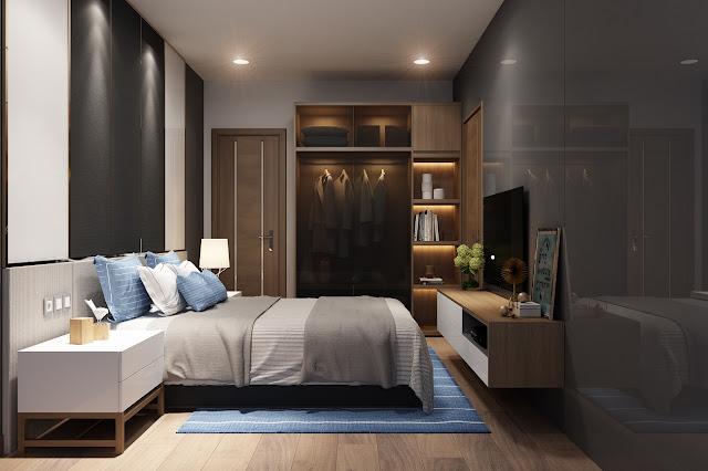 Nội thất phòng ngủ nhỏ căn hộ Manhattan Tower