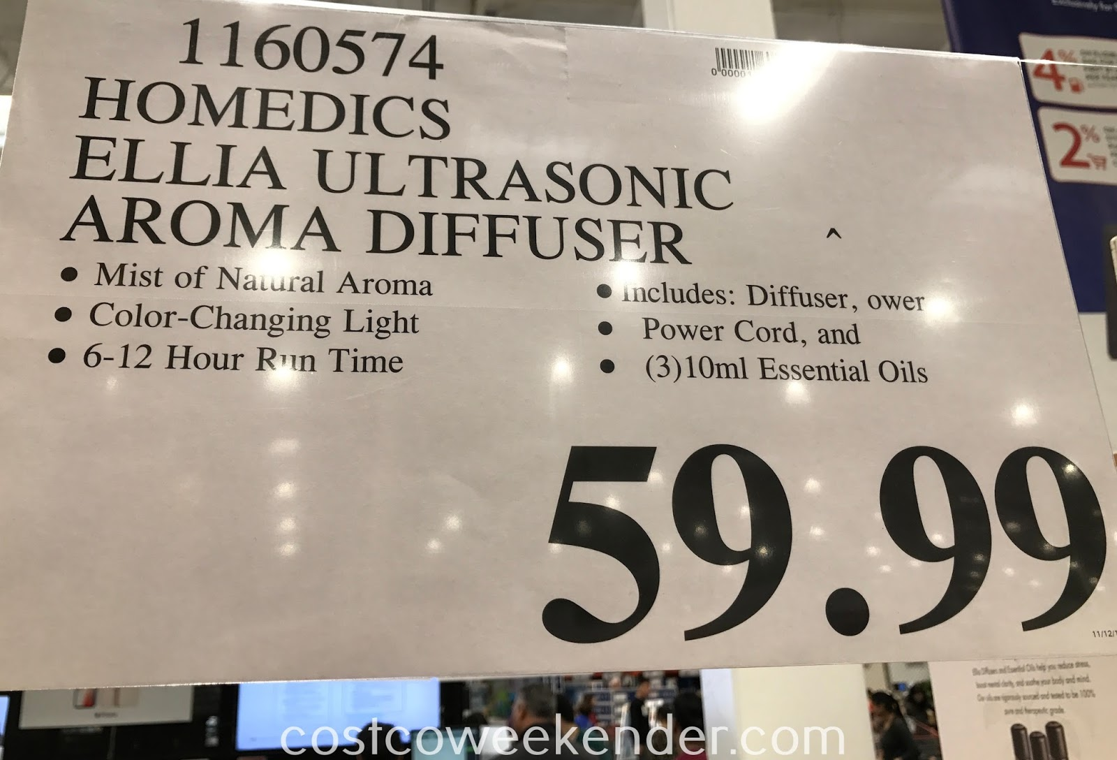 Deal for the HoMedics Ellia Ultrasonic Aroma Diffuser at Costco