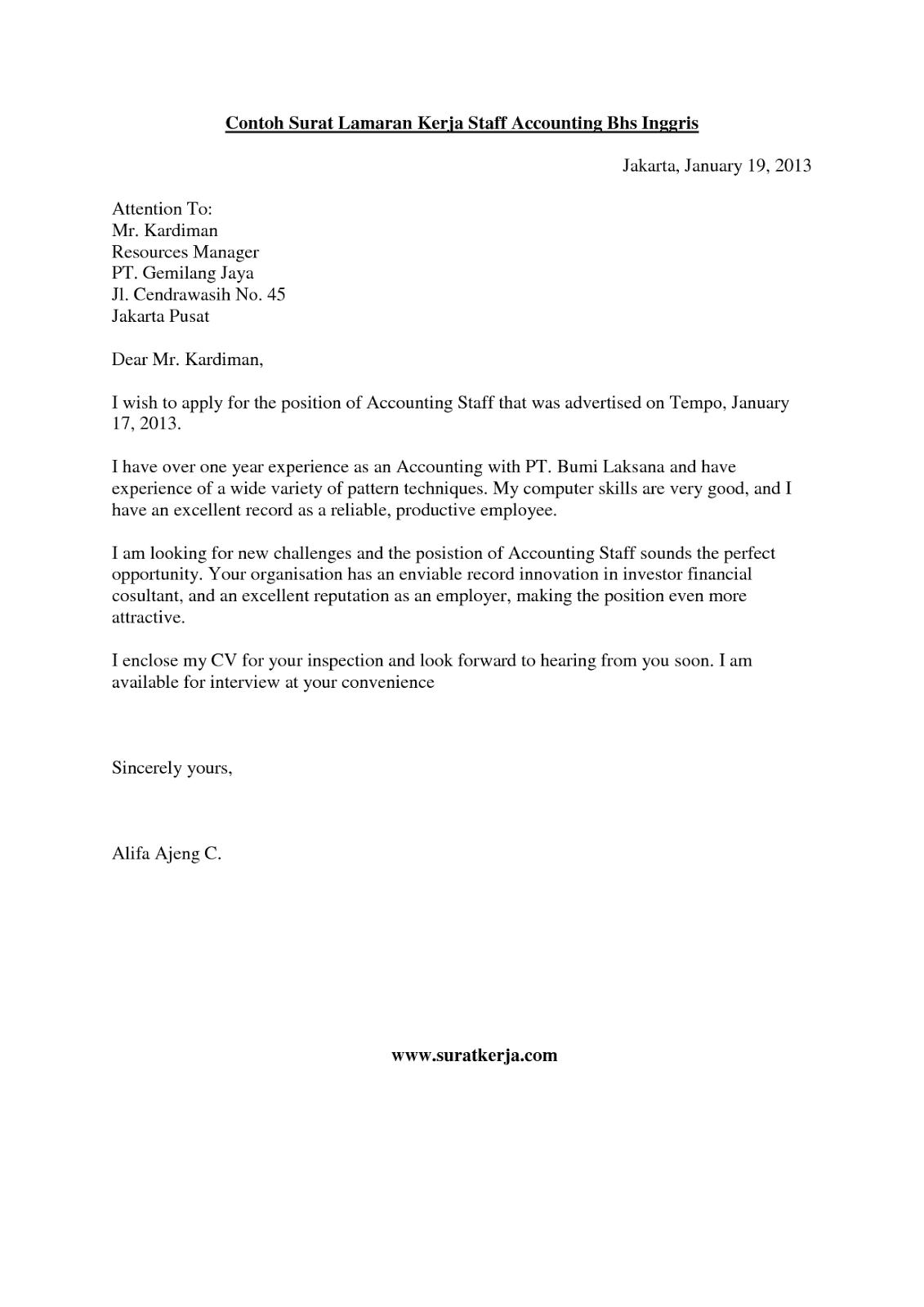 Contoh Surat Lamaran Menjadi Reporter Dalam Bahasa Inggris