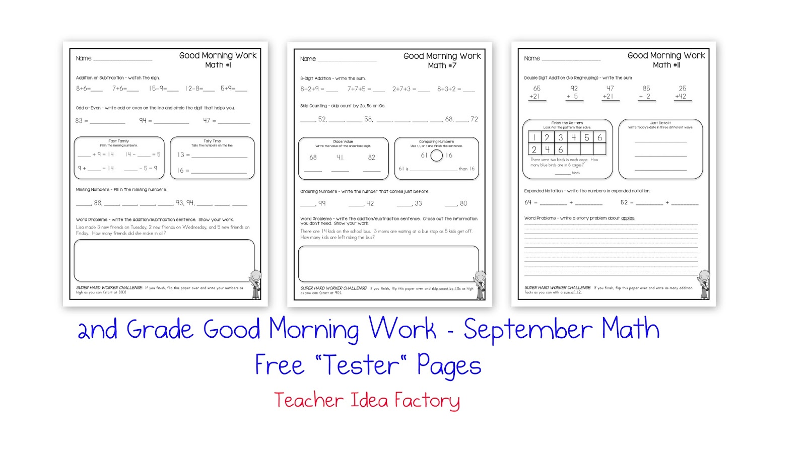 2nd Grade Morning Work For September Freebie