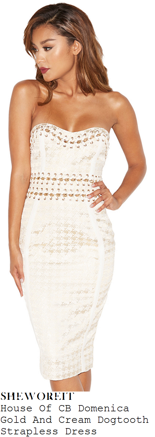 adrienne-bailon-house-of-cb-domenica-gold-and-cream-dogtooth-print-chain-detail-strapless-pencil-dress