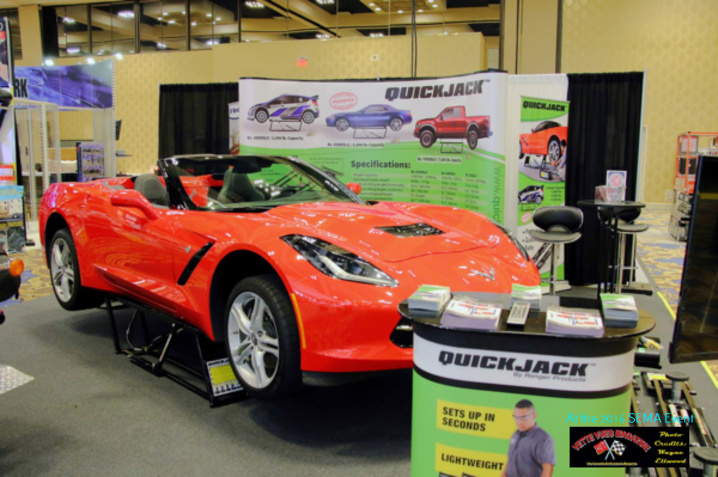 A Corvette on display in the Quick Jack booth at the 2016 SEMA event held at the Las Vegas Convention Center.