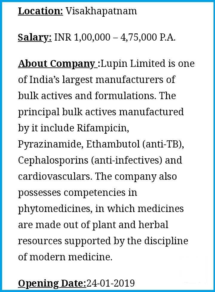 Lupin Pharmaceuticals Limited - Latest Pharma Job for Officers
