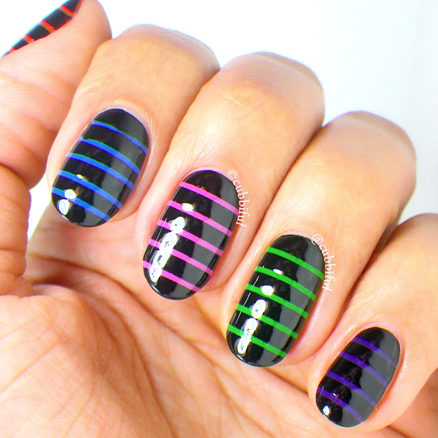 Skittle Stripes Nail Art