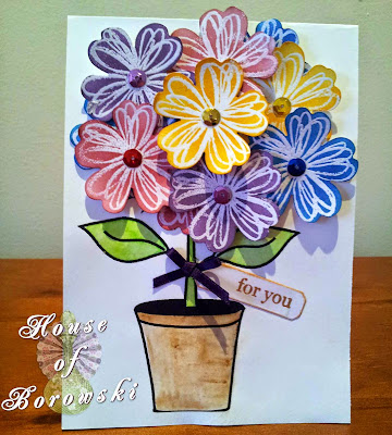 House of Borowski,stampin up flower shop, stampin up pansy punch, Gina K Design a year of flowers,versamark ink, distress inks, white embossing powder, derwent inktense pencils,papertrey ink angled labels die collections