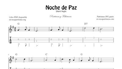 Noche de Paz de Franz Gruber Partituras de Guitarra y Piano Completo Partitura de Silent Night