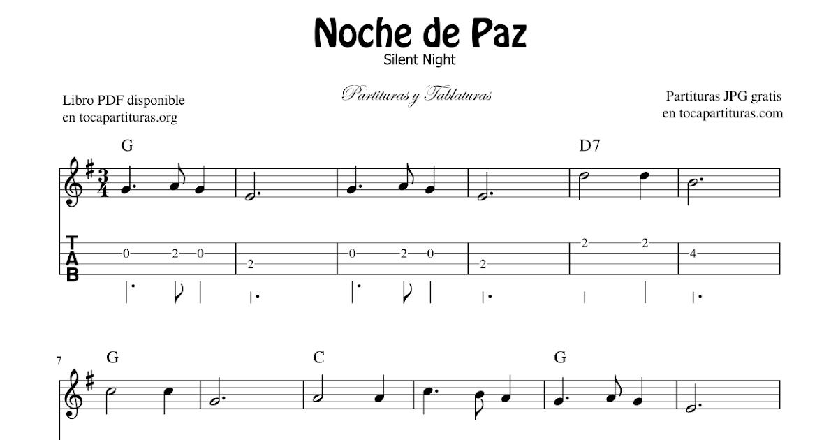 Diegosax Noche De Paz De Franz Gruber Partituras De Guitarra Y Piano Completo Partitura De Silent Night