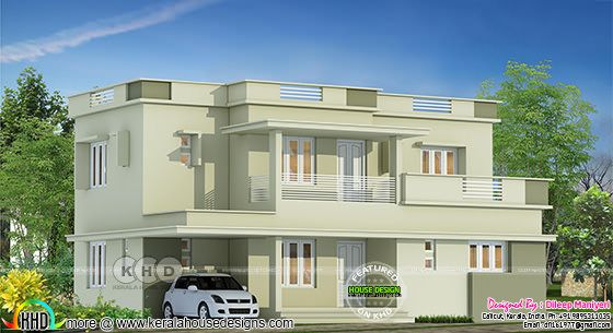 1827 square feet 4 BHK flat roof home plan