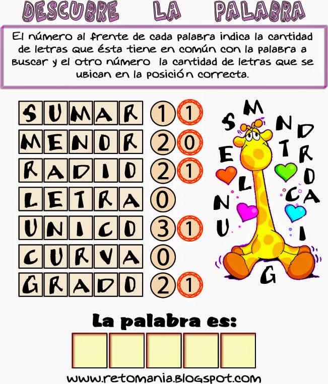 Busca palabras, Descubre la palabra, La palabra escondida, Retos, Retos matemáticos, Desafíos matemáticos, Problemas de lógica, Problemas matemáticos, Problemas de ingenio, Juego de letras