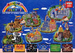 Flyer de Rainbow Islands: The Story of Bubble Bobble 2 de la recreativa de Taito, 1987. La imagen muestra los diferentes mundos del videojuego