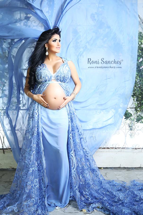 Book Gestante em ensaio gravida com vestido longo azul